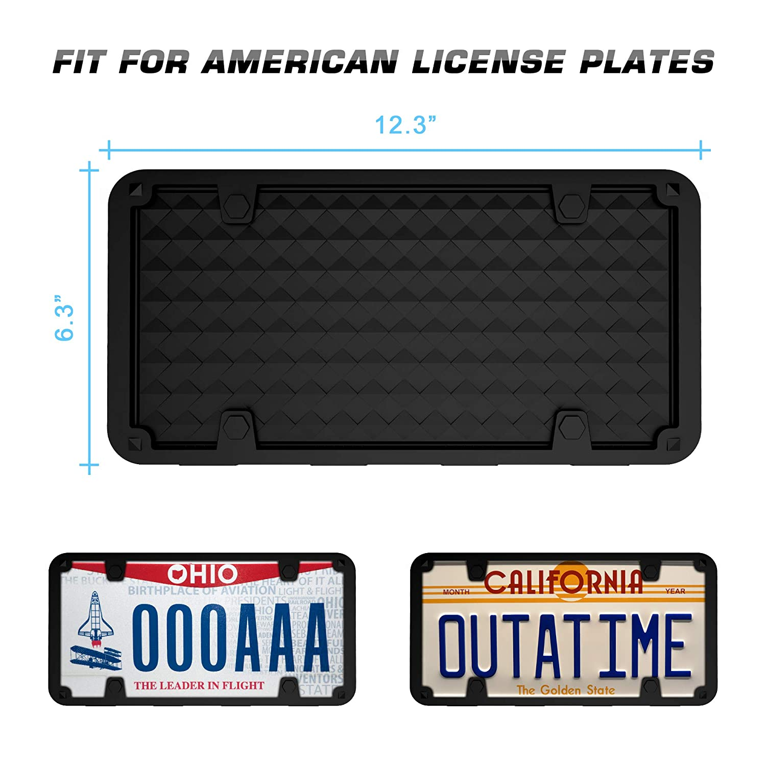 One Pack IPOW License Plate Frame Universal License Plate Holder Cover with Drainage Holes Silicone Material Scratch Proof Rust-Proof with Screws Fasteners for Securing Car License Plates