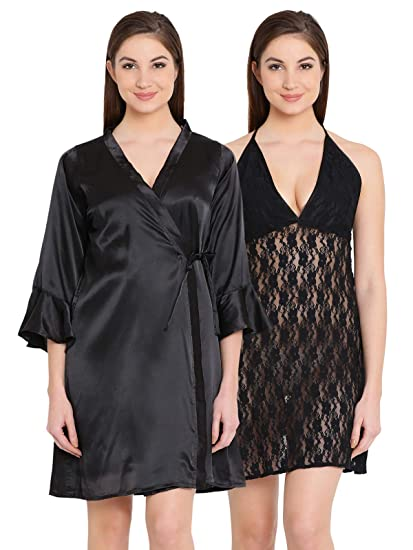 Clovia Women s Lace Halter Neck Short Nighty   Satin Robe  (NS1120P13 Black XXL) 30eef2541