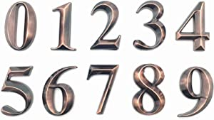 """10 Pack Mailbox Numbers 0-9, 2 Inch High, Door Address Numbers Stickers for/Apartment/House Room/Office, Bronze/Silver Plating Process, by Hopewan.(2"""" 10 Pack (0-9), Bronze)"""