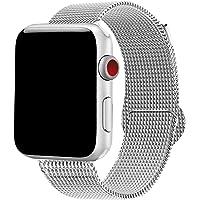 Correa para reloj 38 mm malla milanese de acero inoxidable para Apple watch serie 1/2/3 plateado