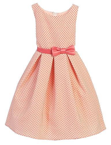 7eb1d749dc227 Amazon.com: Sweet Kids Petite Polka Dot Jacquard Girls' Dress: Clothing
