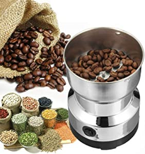 Electric Coffee Grinder, Stainless Steel Electric Spice Coffee Nut Grain Herb Grinder Crusher Mill Blender Kitchen Tool(Silver)
