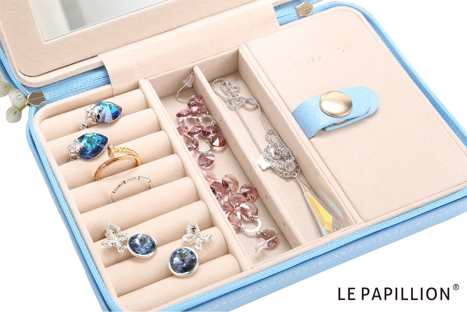 LE Papillion Small Jewelry Box Travel Jewelry Box Jewelry Travel Case Jewelry Organizer with Large Mirror, Gifts for Women, Great Gift Idea(Blue) by LE PAPILLION JEWELRY (Image #4)