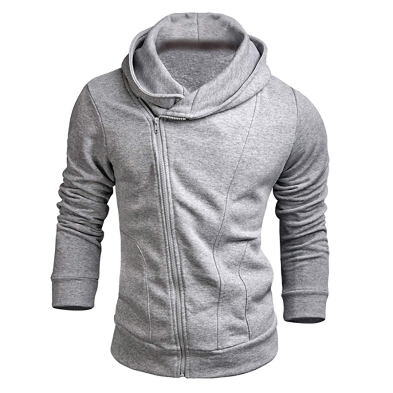 Men Hoodies Male Solid Casual Fleece Sweatshirt Slim Fit Zipper Popular Coat
