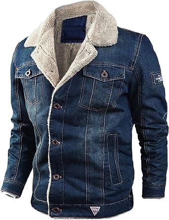 DDLmax Mens Button Up Vintage Fleece Lined Lapel Collar Denim Biker Jacket Jean Coat