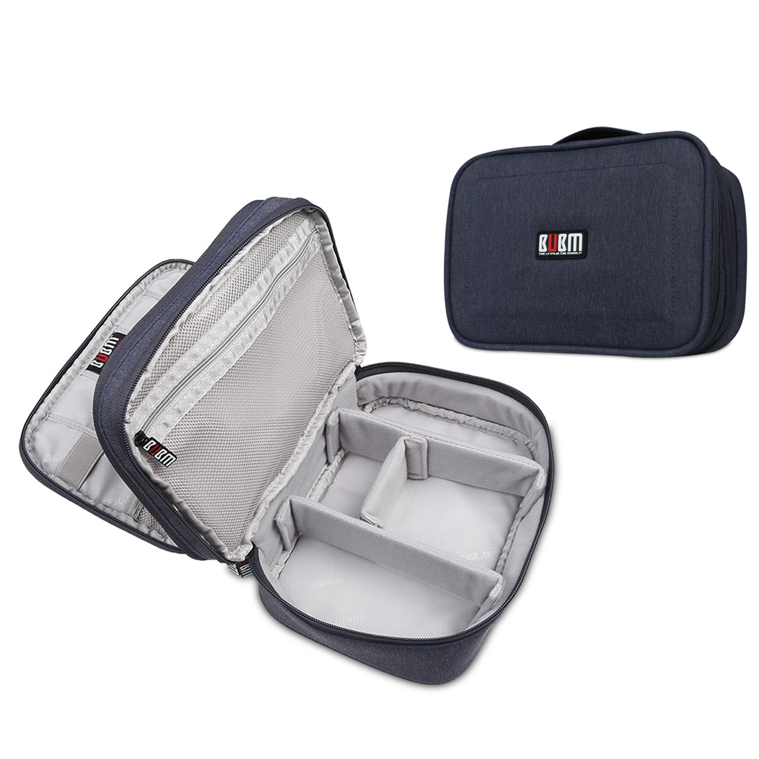 Travel Organizer Carrying Bag - BUBM Portable Electronics Organizer Storage Bag for USB Cables, Chargers, Power Bank,iPad Mini,2-Layer Design, Waterproof, 2 Year Warranty