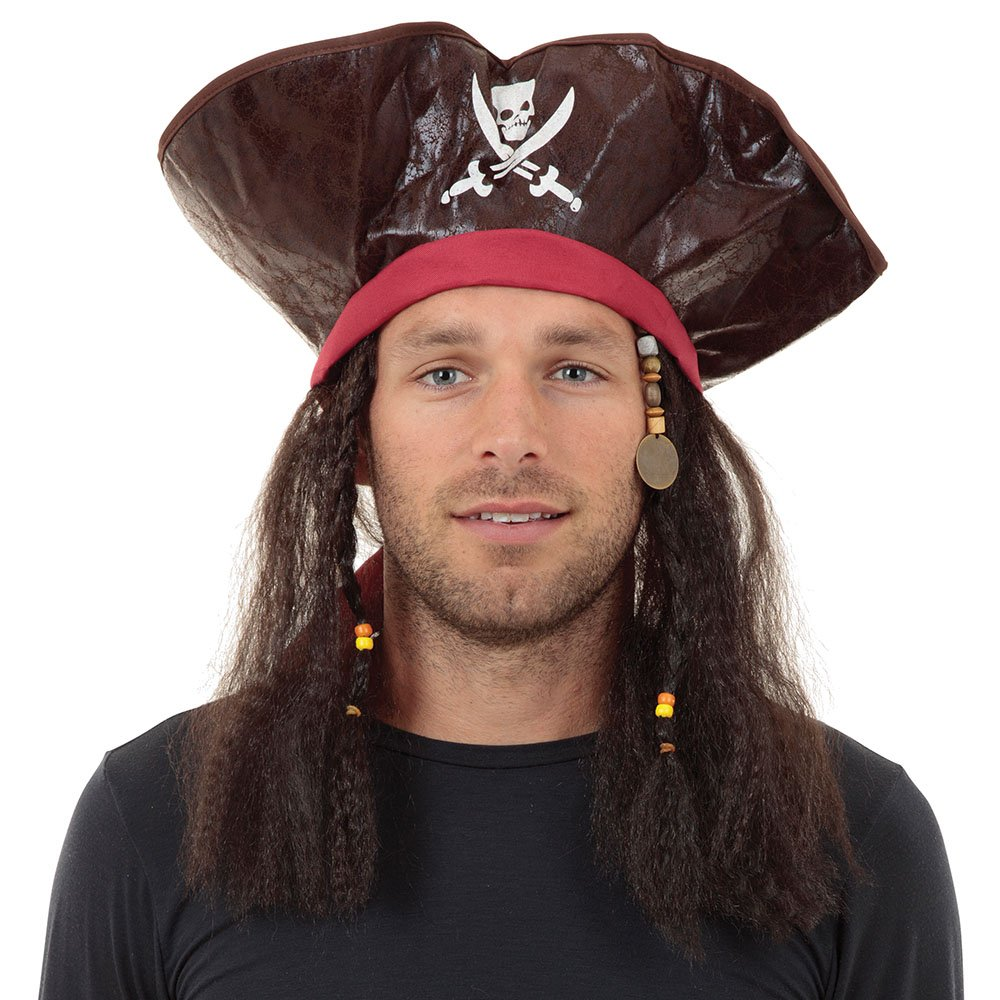 Bristol Novelty BH462 Pirate Caribbean Hat and Hair, One Size