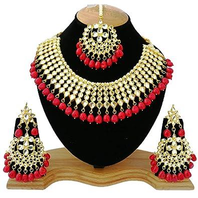 Buy Finekraft Meena Kundan Stylish Gold Plated Wedding Designer