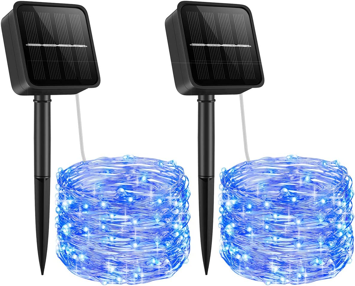 ORIA Solar Powered String Lights, 33ft 100 LED Copper Wire Lights, Fairy Lights, Indoor Outdoor Waterproof Solar Decoration Lights for Gardens, Home, Dancing, Party, Christmas, Blue, 2 Pack