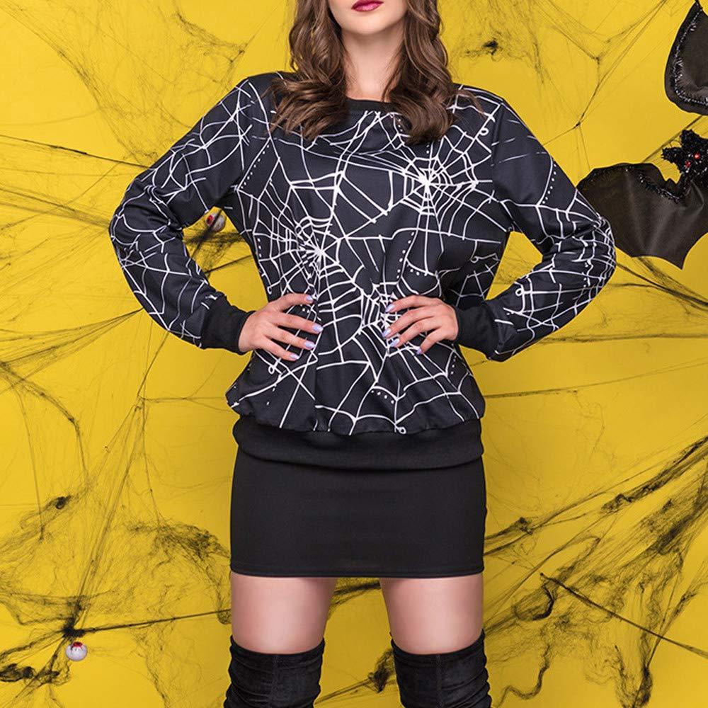 Makeupstore Sweatshirt for Women,Womens Scary Halloween Spider Web 3D Print Party Long Sleeves Top Sweatshirt,Women's Petite Athletic Sweaters,Black,XL