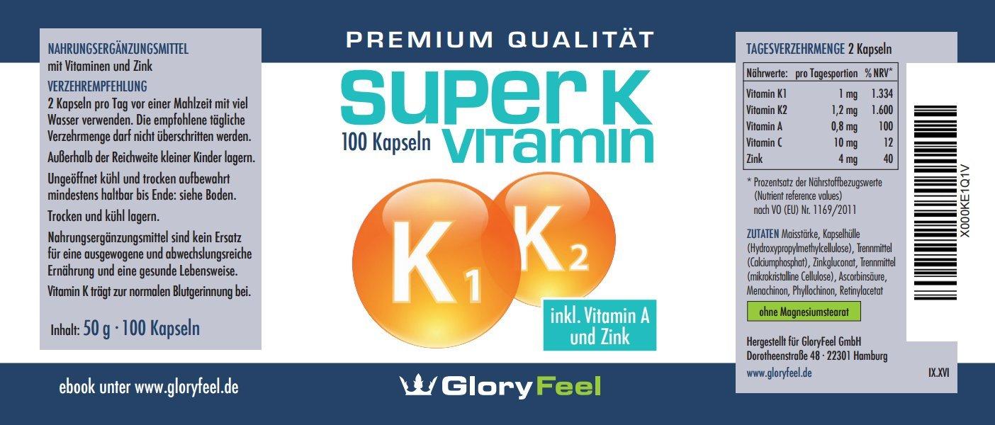 Complejo Vitamina K - Super K: Vitamina K1 + K2 - 2200 µg de Vitaminas K por cápsula + Vitamina A, C y Zinc - 100 cápsulas con alta dosis de Complejo ...
