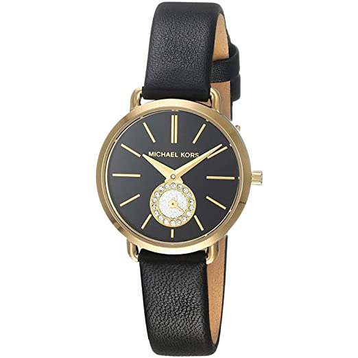 Michael Kors Petite Portia Black Leather Strap with Gold Dial ... d2d02674dc3e