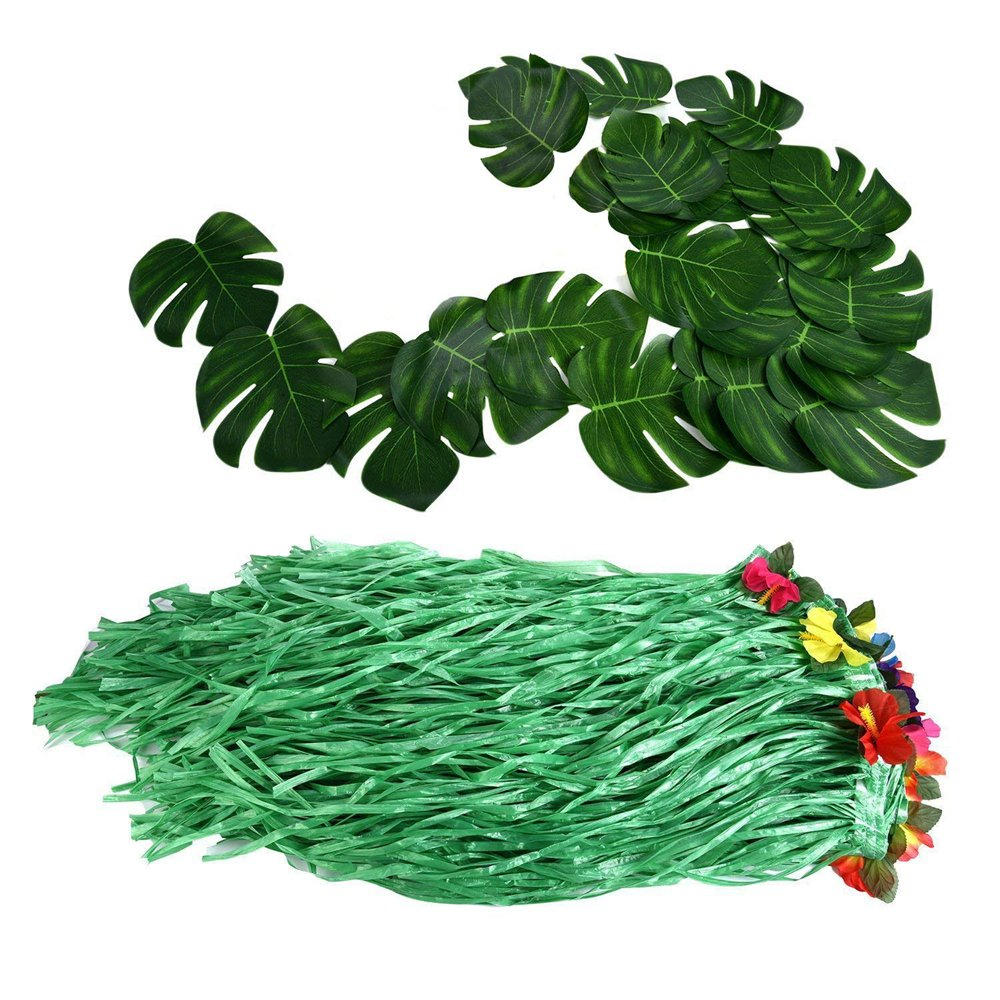 Hawaiian Luau Party Supplies-1 Pack Grass Table Skirt 9ft,20 Pcs Tropical Faux Palm Leaves5Pcs Adhesive Hook & Loop for Hula, Luau, Maui, Hawaiian, Moana Themed Party(26pcs) by COCOScent (Image #6)