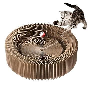 DJLOOKK Cartón De Scratcher del Gato, Plegable Cat Scratcher Lounge Bed con Pelota De Juguete