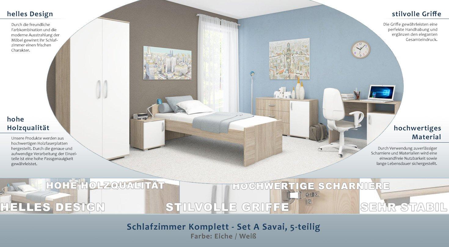 Schlafzimmer Komplett Set A Savai 5 Teilig Farbe Eiche Weiss