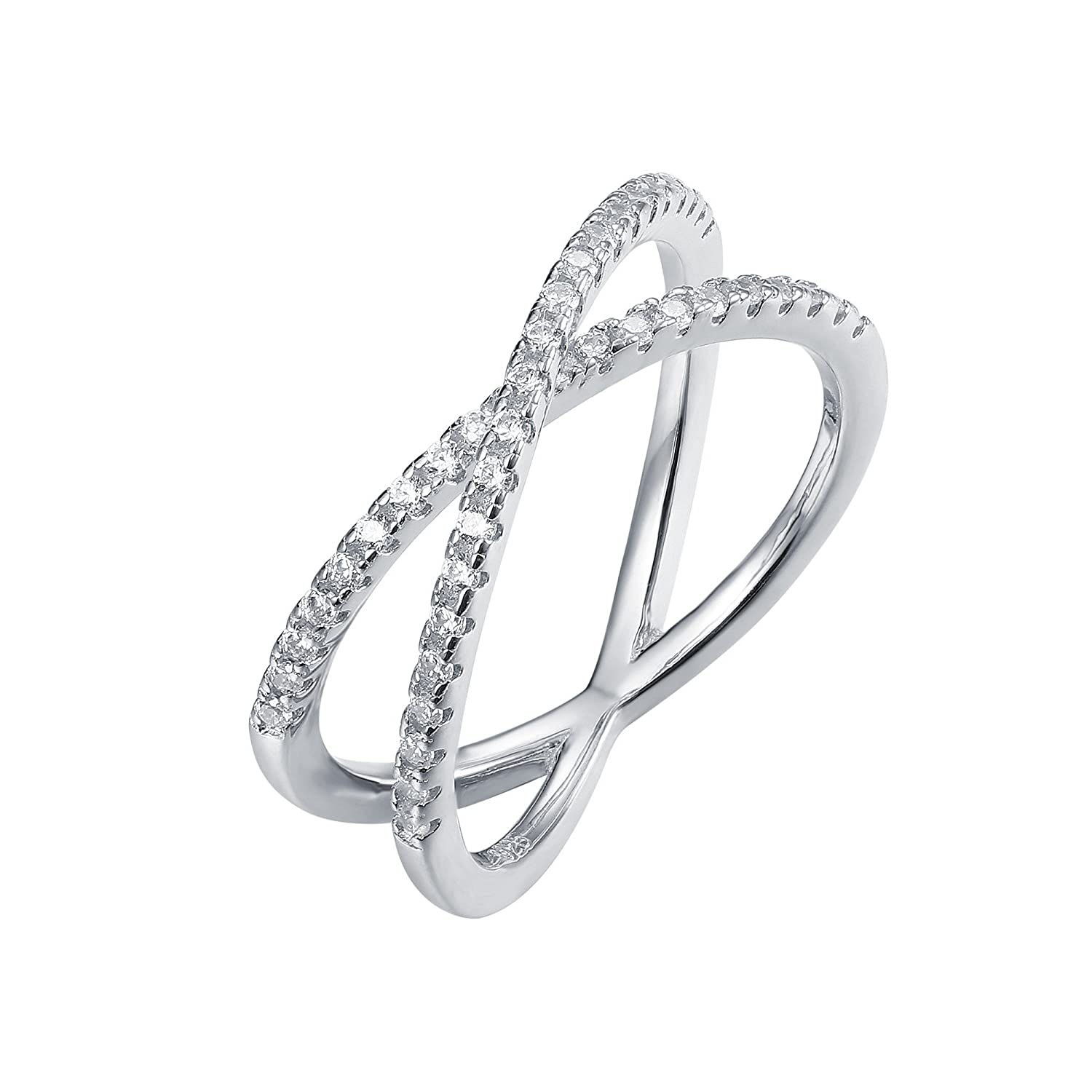 PAVOI 14K Gold Plated X Ring Simulated Diamond CZ Criss...