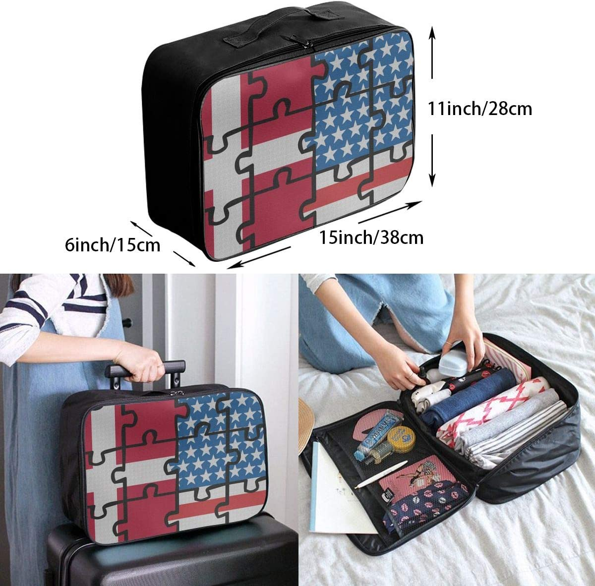 Denmark USA Flag Puzzle Overnight Carry On Luggage Waterproof Fashion Travel Bag Lightweight Suitcases