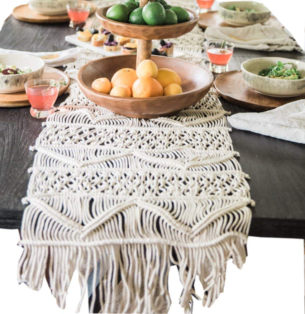 Macrame Table Runner Boho Wedding Décor 13.8x118 Inch - Dimensions:13.8 inch width x120 Inch length Handwoven macrame table runner, 100% cotton Perfect for outdoor spring entertaining, wedding table décor,or boho chic party! - table-runners, kitchen-dining-room-table-linens, kitchen-dining-room - 71NmMkYOt0L -