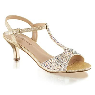 3084c6e80d8 Summitfashions Womens T Strap Sandal Nude Kitten Heel Shoes Sparkly  Rhinestone 2 1 2 Inch