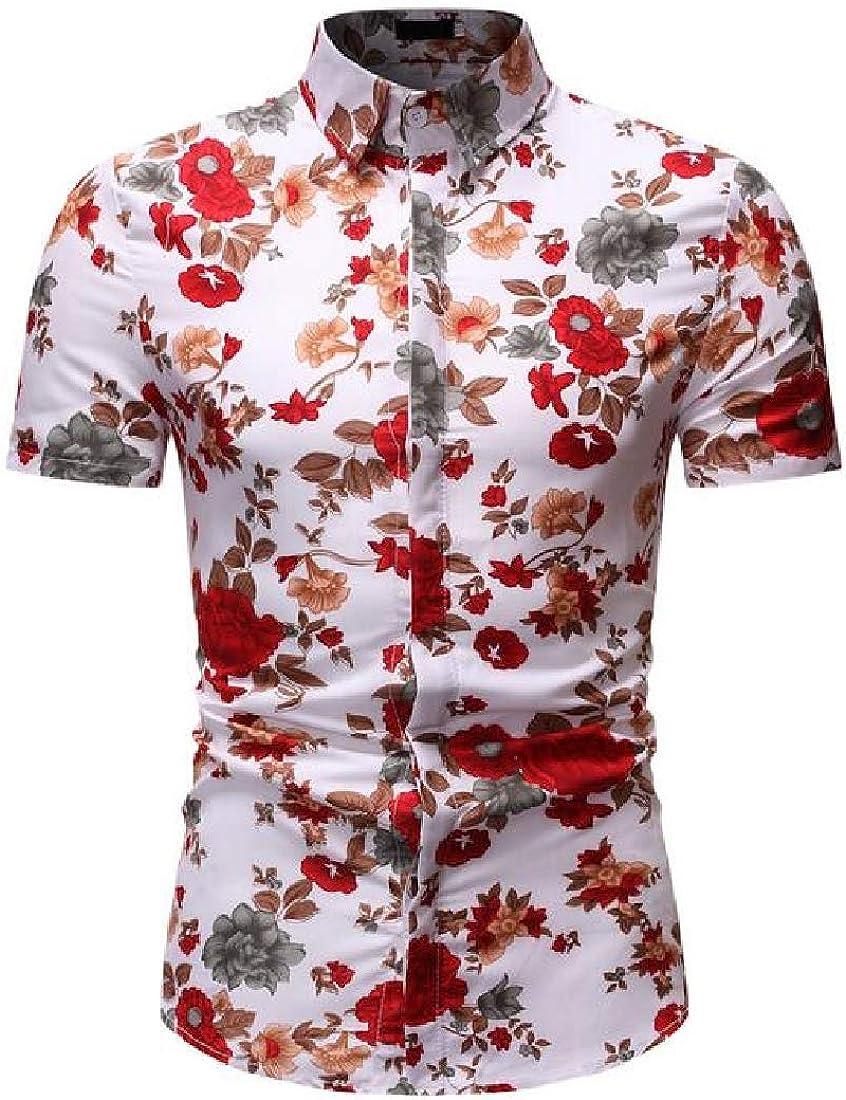 Rrive Men Regular Fit Casual Print Short Sleeve Beach Lapel Button Down Shirt