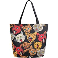 ZzWwR Cute Hand Drawn Cats Extra Large Canvas Shoulder Tote Top Handle Bag for Gym Beach Weekender Travel Shopping