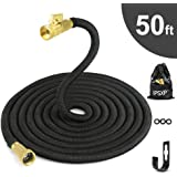 "Garden Hose, IPSXP 50ft 15m Expandable Water Hose with Durable Double Latex Core, 3/4"" Solid Brass Connector, Best Abrasion Resistance High-Pressure Resistance for Gardening, Car, Pet, Flower, Plant"