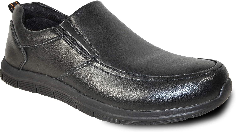 VANGELO Professional Slip Resistant Men's Work Sneaker Shoe for Food Service Health Care Nurse Nick Black