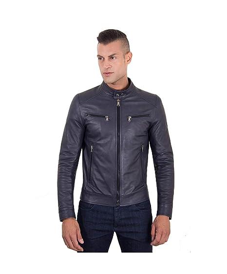 Veste en cuir homme style motard cuir plongé couleur bleue