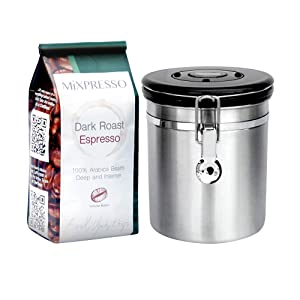 Coffee Container Airtight - Coffee Vault - by Mixpresso (16 Ounces, Stainless Steel)