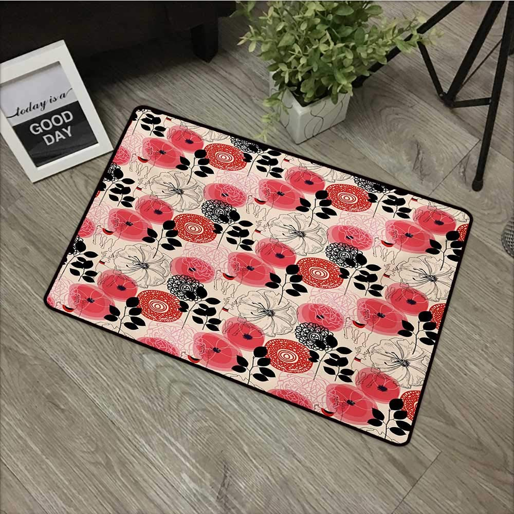 bathroom entry rugs Deer,Doodle Style Abstract Floral with Abstract Wildflowers Leaves and Animals,Vermilion Black Cream,Low Profile Door Mat - Welcome - Front Door, Garage, Patio,31''x47'' by Moses Whitehead