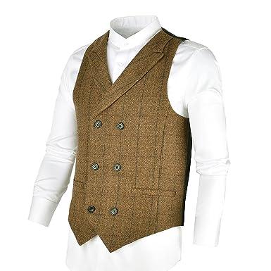 46c12be60ba16 BOTVELA メンズ ウール100% スーツベスト 男性用 ダブルブレストベスト ビジネス ヘリンボーン チャック 襟