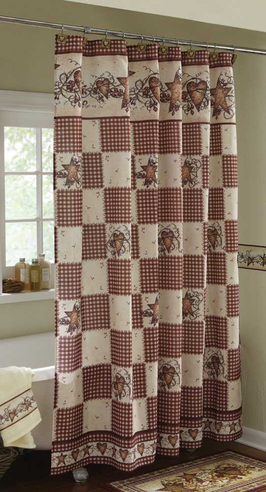 Amazon.com: Primitive Hearts And Stars Country Shower Curtain: Home ...