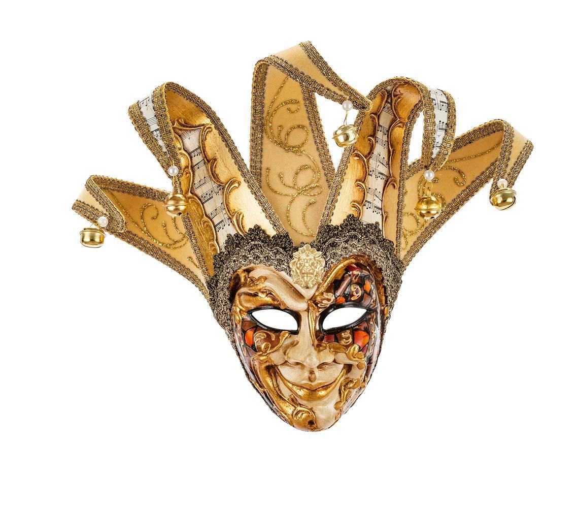 handgefertigt Original venezianische kleine Deko-Maske mit Jokergesicht Dekor mit kupfer- und goldfarbenem Phantasiemuster Made In Italy Spitzen aus Samt und Papier mit Partiturmotiven