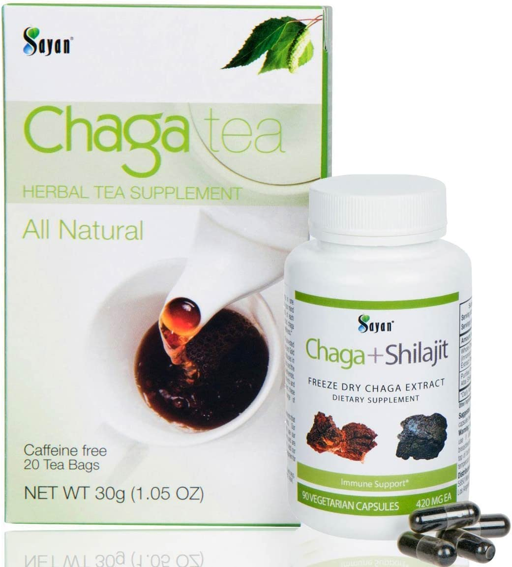 Sayan Siberian Chaga Mushroom Extract with Shilajit 90 Vegetarian Capsules and 20 Chaga Tea Bag Box – Wild-Harvested Supplement for Immune System Support Natural Energy Boost