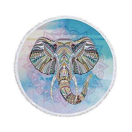 JUNHONGZHANG Elefante Verano Microfibra Grande Impresa Redonda Toallas De Playa con Borla Bohemia Toallas De Baño