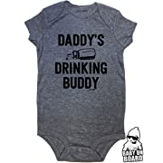 ff8492018 Daft Baby ~ Daddy's Drinking Buddy Funny Baby Onesie Graphite (12-Months)