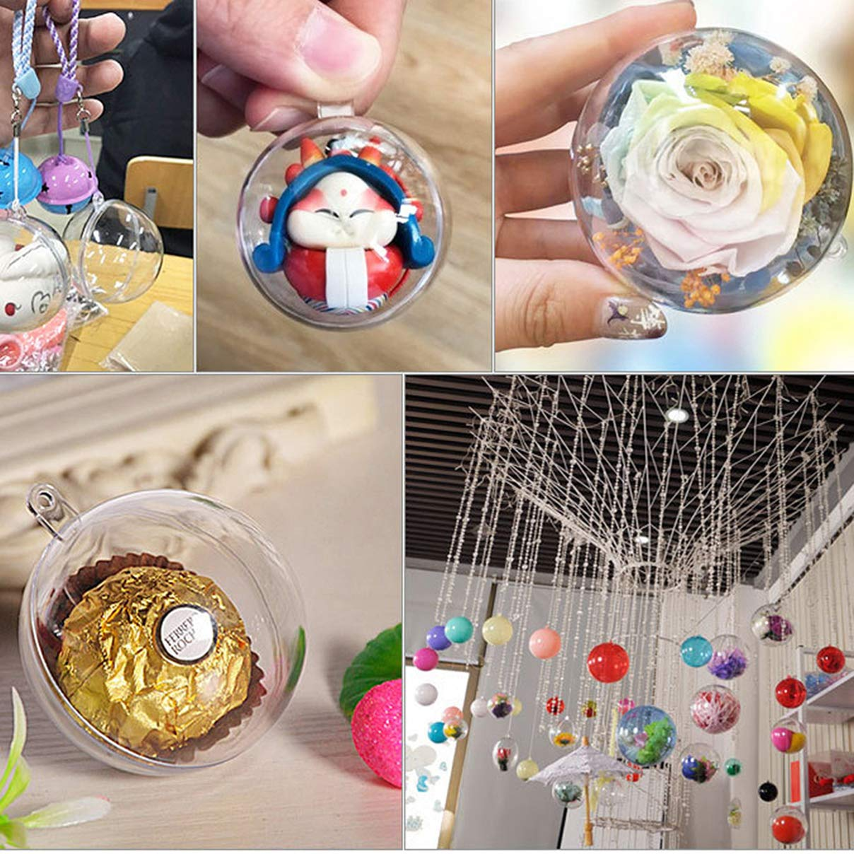 Hahago Clear Plastic Acrylic Fillable Transparent Ball Sphere Bauble Ornament for Wedding Party Christmas Home Decor 40mm,set of 19pcs
