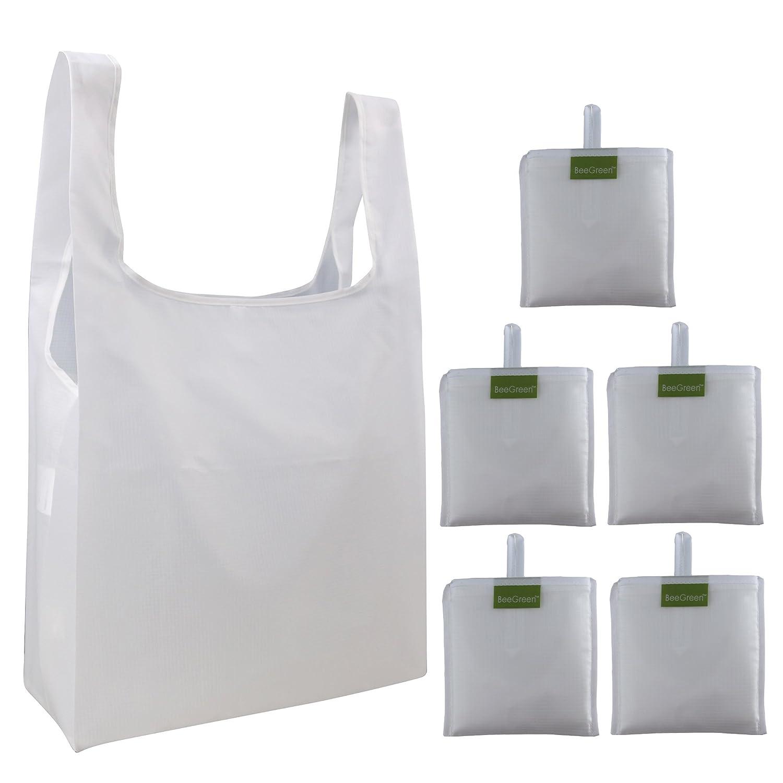 (ビーグリーン) BeeGreen再利用食料品バッグセット 折りたたみ式食料品トートバッグ 付属ポーチに収納 リップストップポリエステル 再利用ショッピングバッグ 洗濯可 耐久性あり軽量 15W*25L*6D ホワイト B0739SSWS2 ホワイト ホワイト