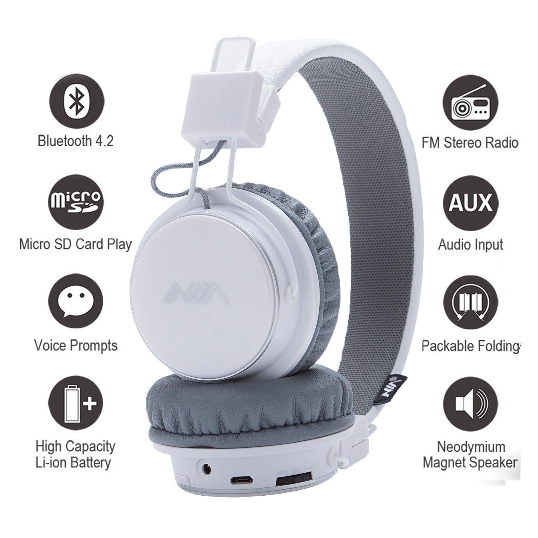 Auriculares Bluetooth inalámbricos, plegables y ligeros sobre la oreja, con radio FM, reproductor de tarjetas, entrada de audio con micrófono para niños y ...