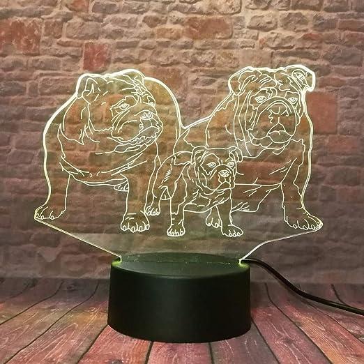 3D de Dibujos Animados Bulldog Francés Lindo Shar Pei Perro Familia 7 Cambio de Color LED Luz de Decoración Nocturna Kid Boy Dormitorio Dormitorio Regalo de Navidad ...
