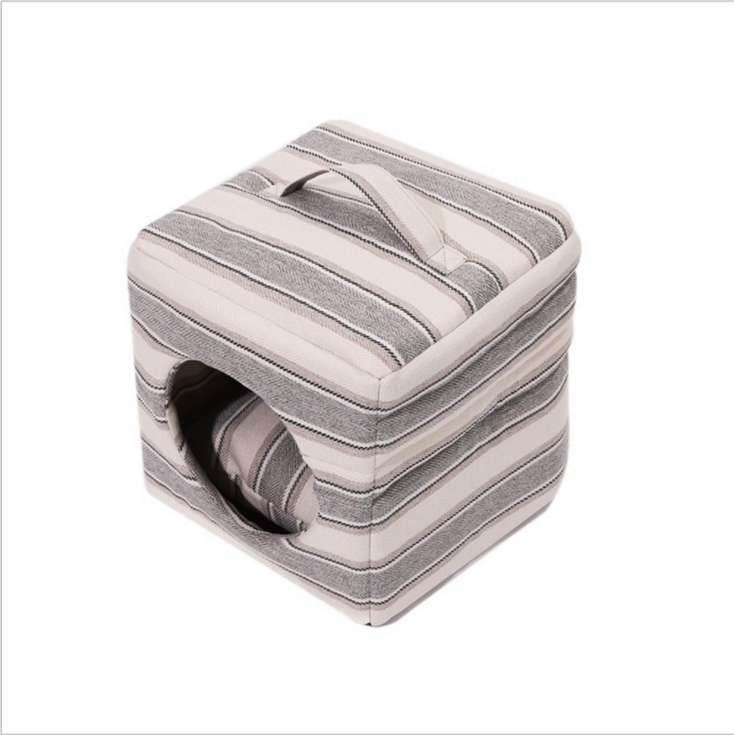 A Dog Bed,Square Kennel Stripe Printing Waterproof Oxford Cloth Medium Large Dog Cat Nest Foldable Detachable House