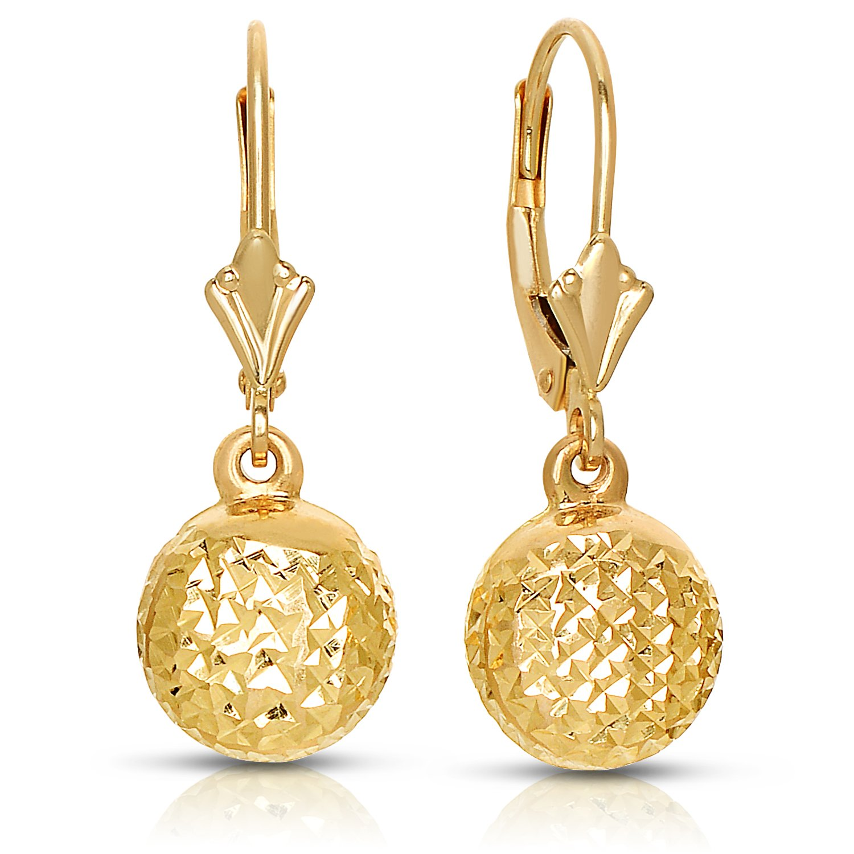Amazon 14k Yellow Gold Diamond cut Ball Dangle Drop Lever