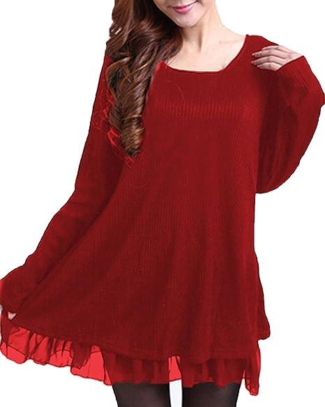 TALLA EU 46. ZANZEA Jersey Mujer Invierno Largo Vestidos de Encaje para Vestido Lazo Elegant Fiesta de Noche Suéter Suelta Negro EU 46