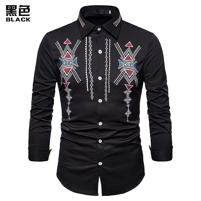ouxiuli Mens Floral Printed Dress Shirt Casual Button Down Shirt