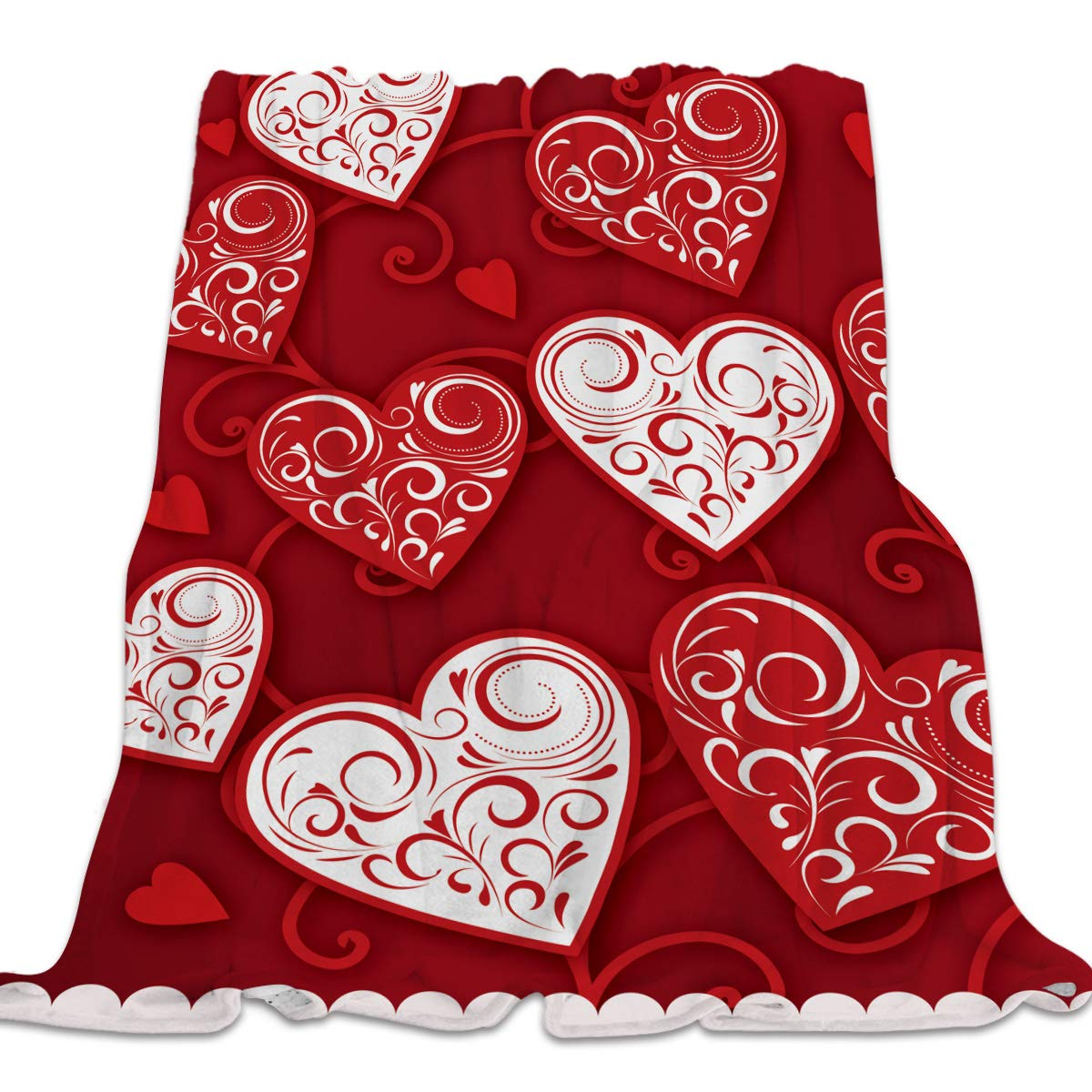 Valentine's062cly5297 49x59inch=125x150cm Clouday Flannel Fleece Bed Blanket Soft ThrowBlankets for Kids Girls Boys,Happy Valentine's Day HeartShaped Pattern,Lightweight Blankets for Bedroom Living Room Sofa Couch Home Decor,49x59Inch