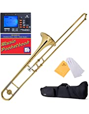 Mendini by Cecilio Bb Tenor Slide Trombone, Gold with 1 Year Warranty, Tuner, Pocketbook and More, MTB-L