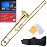 Mendini by Cecilio Bb Tenor Slide Trombone, Gold Lacquered, 1 Year Warranty, Tuner, Pocketbook and More, MTB-L