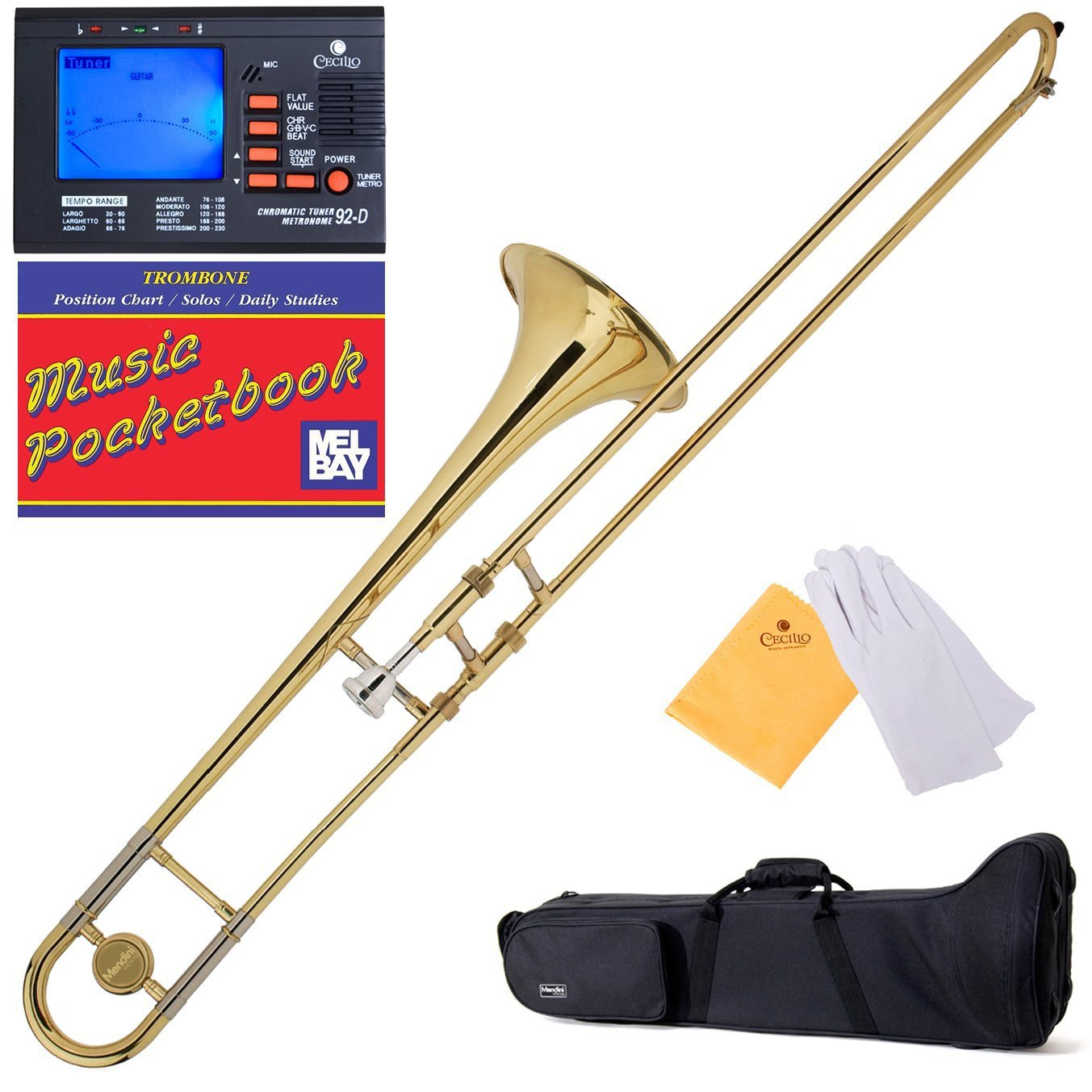 Mendini B-Flat Slide Trombone, Gold Lacquered and Tuner, Case, Pocketbook - MTB-L+92D+PB Mendini by Cecilio