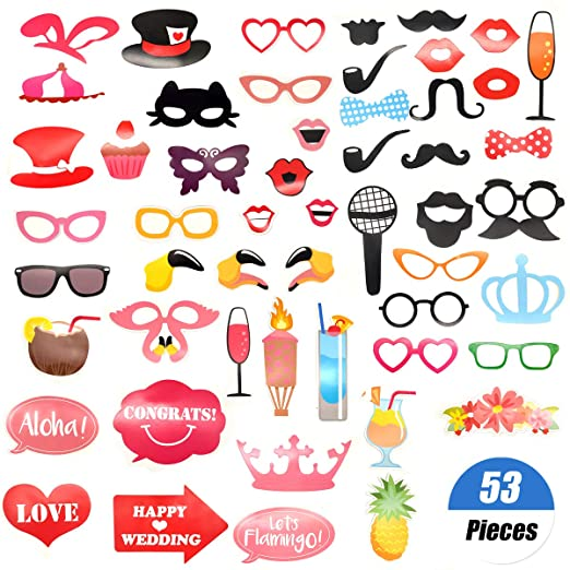 YuChiSX 53pcs Boda Photo Booth Props, Photobooth Cumpleaños ...