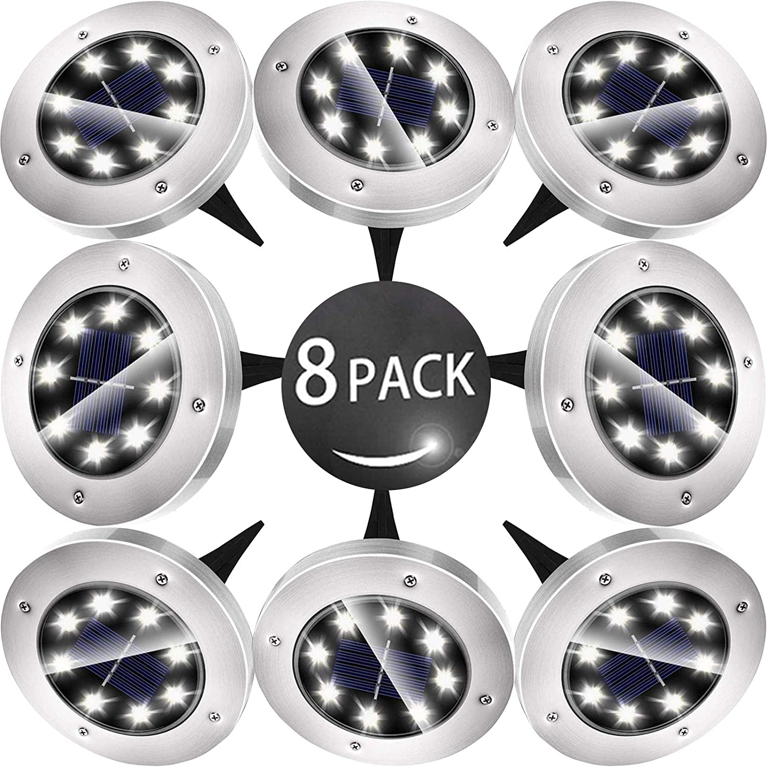 Biling Solar Disk Lights Outdoor, 8 LED Bulbs Solar Ground Lights Outdoor Waterproof for Garden Yard Patio Pathway Lawn Driveway - White (8 Pack)